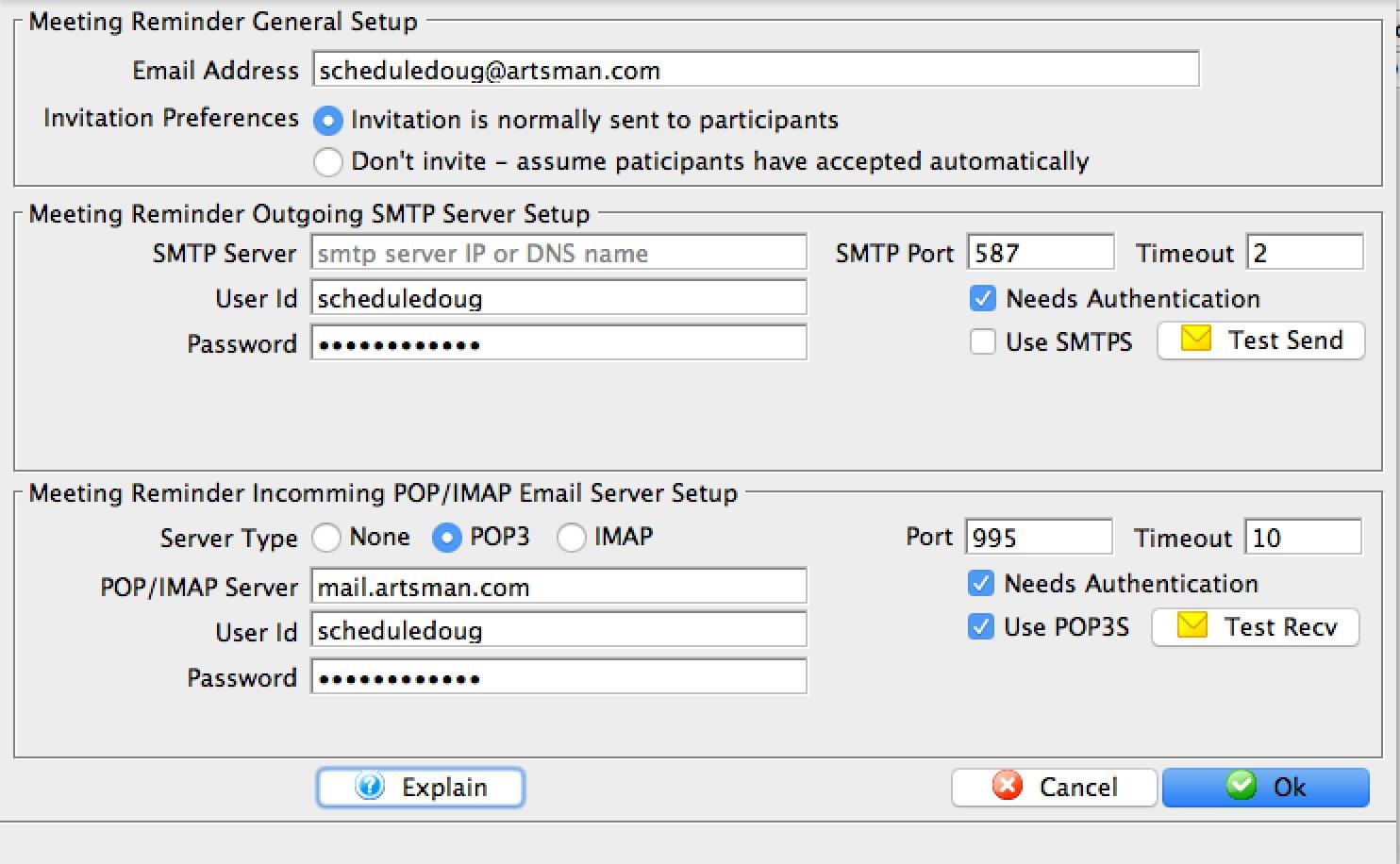 meeting reminder email setup