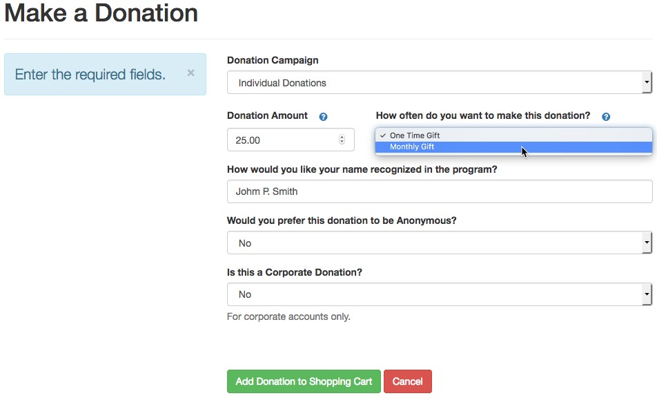 Recurring Donation Web Sales
