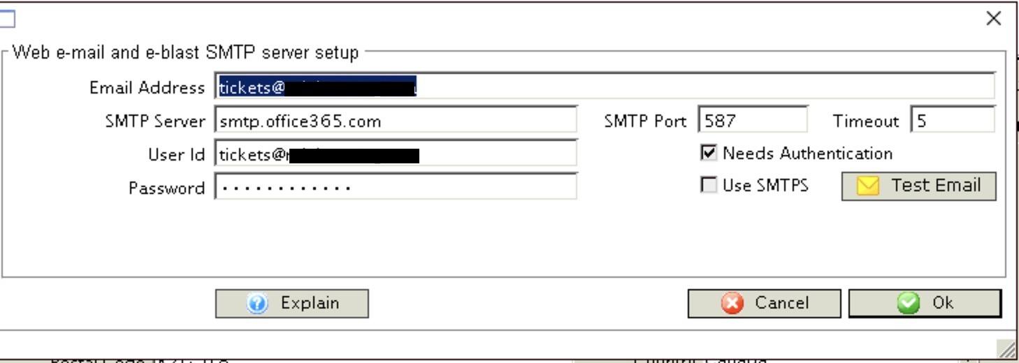 Web Server SMTP settings