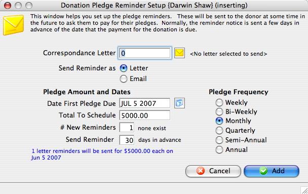 donation pledges