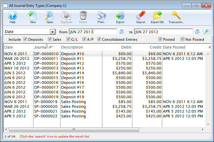 the general ledger entries window arts management systems