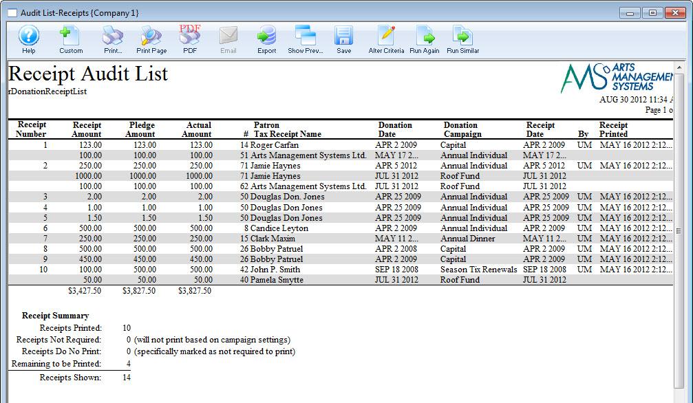 audit list receipts arts management systems