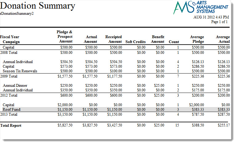 Donor Summary Campaign Amp Year Fiscal Arts Management